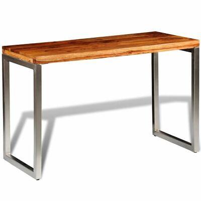 vidaXL Mesa del comedor escritorio de oficina de madera Sheesham patas de acero