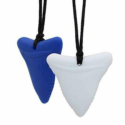 Teether Necklace for Infant Baby Newborn 3 Pieces Shark Silicone Tooth Chew Necklace Chewing Necklace Autism Teether Toy Black, White, Blue Sensory Chewing Pendant Necklace Oral Sensory Chew Toys