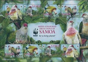 Samoa-2011-SG1228-Many-coloured-Fruit-Dove-WWF-MS-MNH