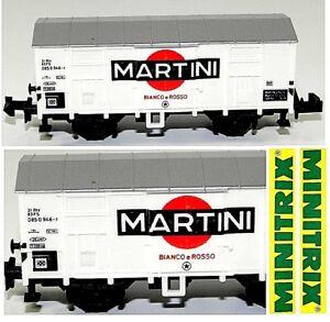 MINITRIX-VINTAGE-3281-CARRO-MERCI-CHIUSO-MARTINI-Bianco-Rosso-FS-ITALIA-SCALA-N
