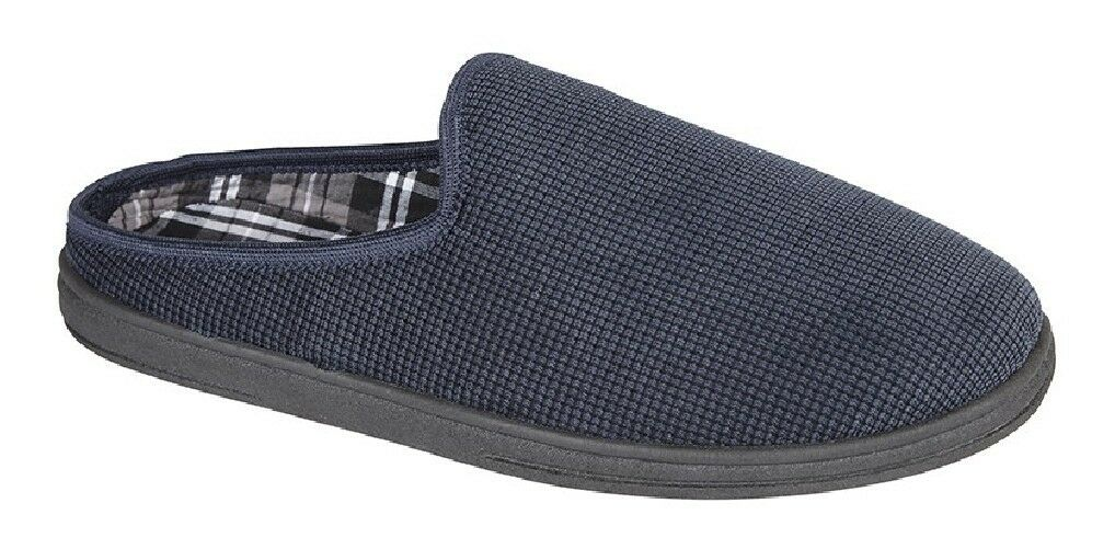 Hombre DAVE Navy Mule Azul Cord Memory Comfort Mule Navy Slippers ee7cc4