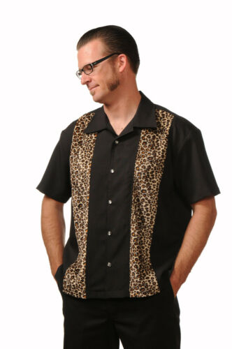 Steady Clothing Leopard Panel Punk Rockabilly Button Down Bowling Shirt ST35320