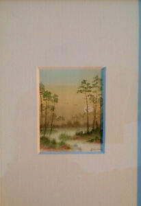 Miniature-aquarelle-paysage-lever-de-soleil-dans-la-foret-signee-parfait-etat
