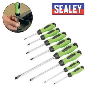 Sealey-HV001-Screwdriver-Hi-Vis-Hi-Visibility-Green-8Pc-With-magnetized-Tips-Set