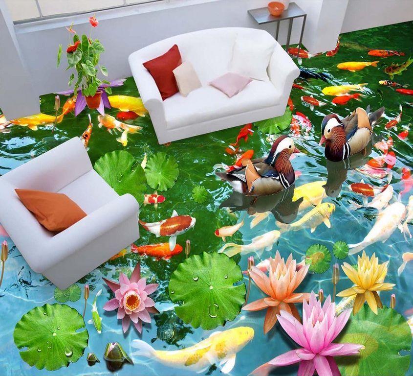 3D Wasser Fisch Blaume 924 Fototapeten Wandbild Fototapete Bild Tapete Familie