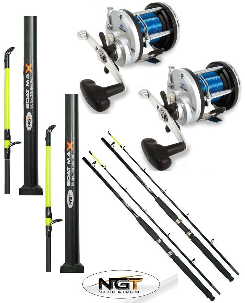 2 x 25LB 6FT 2 PIECE NGT BOAT + RODS + BOAT 2 x JD500 MULTIPLIER REELS SEA FISHING be5d21