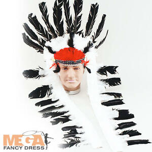 Image is loading Feather-Indian-039-s-Chief-Headdress-Mens-Fancy-  sc 1 st  eBay & Feather Indianu0027s Chief Headdress Mens Fancy Dress Native American ...