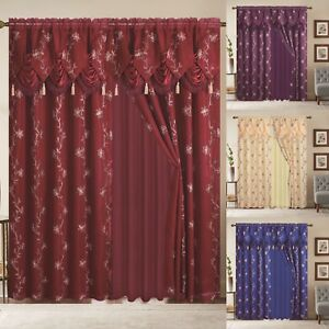 Window-Curtain-Blue-Gold-Linda-Collection-2-PCS-Set-with-Valance-Luxury-Curtain