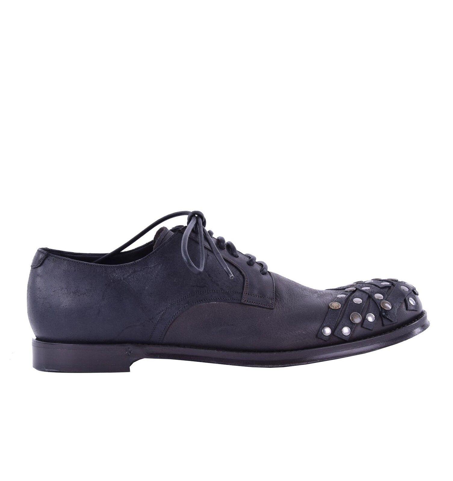 DOLCE & GABBANA Schuhe SIRACUSA mit Nieten Schwarz Braun Shoes Black 04953
