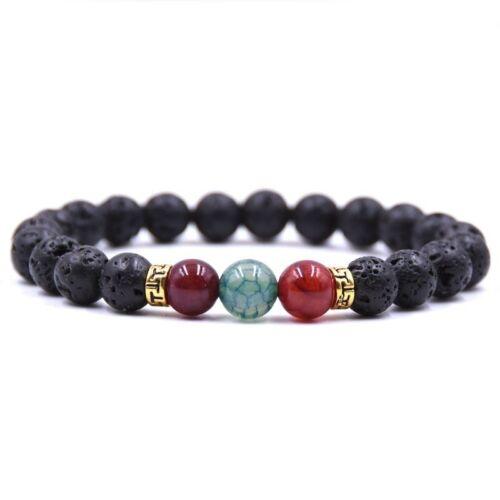 Armband für Sie und Ihn Neu Perlenarmband Buddha Lavastein Schwarz Herren Damen