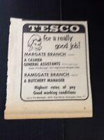 A1-4 Ephemera 1969 Advert Tesco Margate Branch General Assistant Butchery