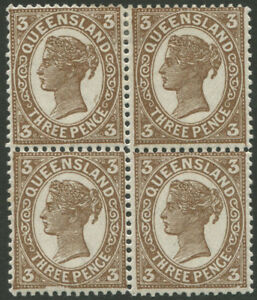 Queensland-1898-SG-240-3d-Brown-block-4-with-all-units-showing-Plate-flaws