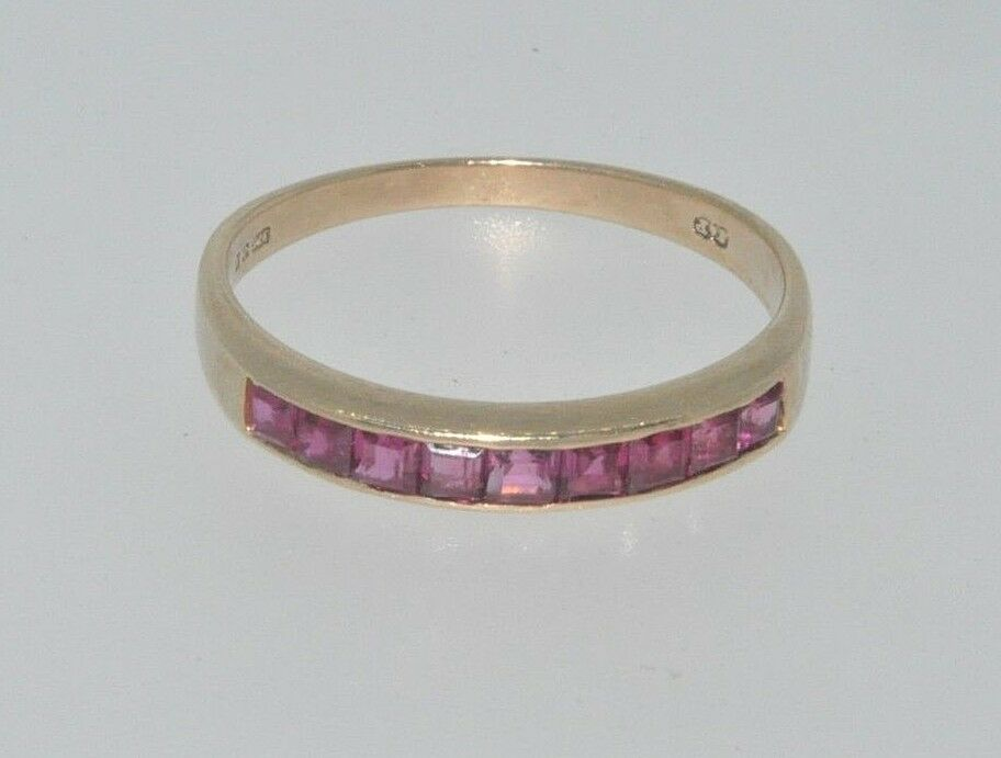 9ct gold ruby princess cut eternity ring size O