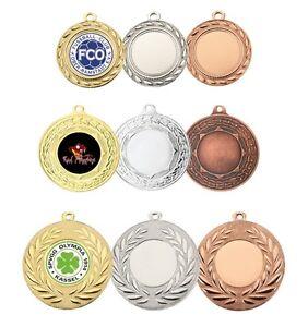10 Stück Medaillen nach Wahl mit indiv.Logo-Eti<wbr/>kett & Band/Kordel ab 9,45 EUR