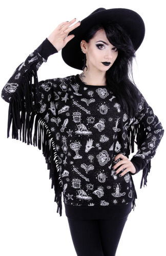 Restyle Witchy Jumper Pullover Nugoth Hippie Magic Moon Bluse Hexe Hoodie Pulli