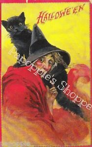 Fabric-Block-Vintage-Halloween-Postcard-Image-Witch-Cat