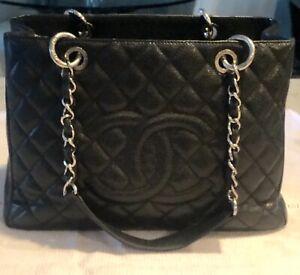 18099e4153 Chanel Classic GST Black Caviar Grand Shopper Tote - Silver Hardware ...