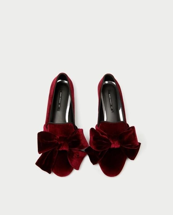 Zara Damens Velvet Loafers With Bow Größe 6 EUR 36 NWT