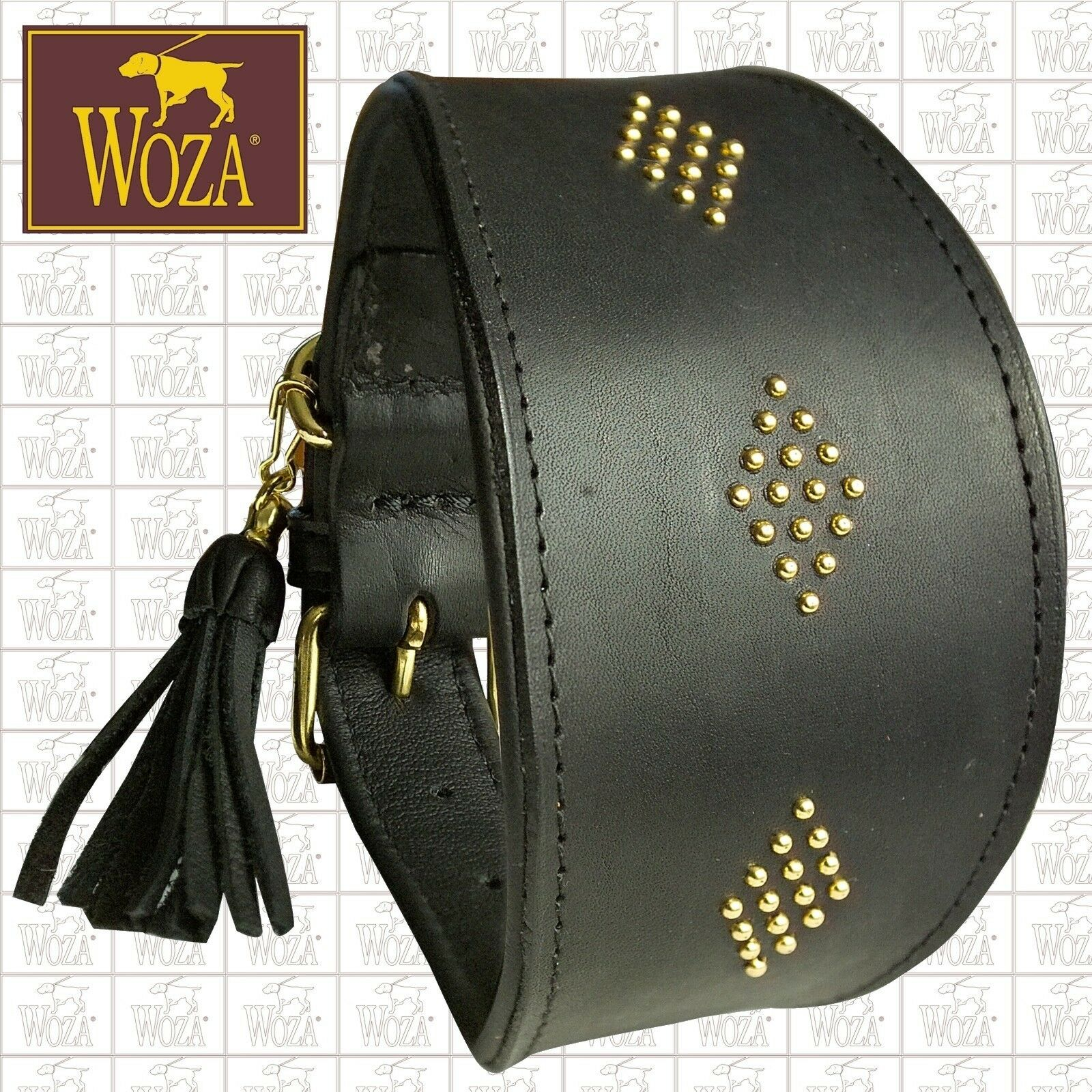 Premium WOZA Greyhound Collar Saddlery-sewn Full Leather Cow's Napa Padded S739
