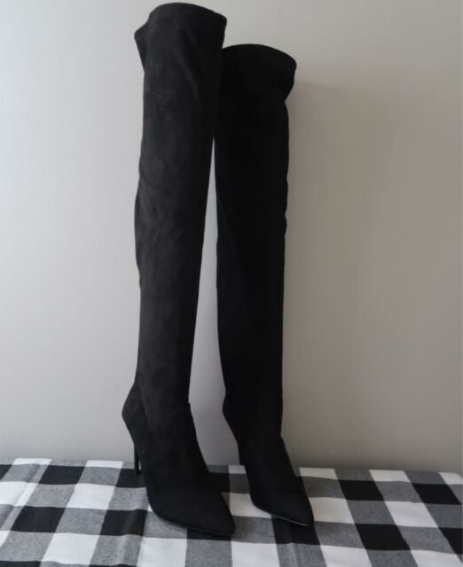 STEVE MADDEN WOMEN'S DEBBIE OVER THE KNEE SUEDE BOOTS BLACK 6M NEW W/O BOX