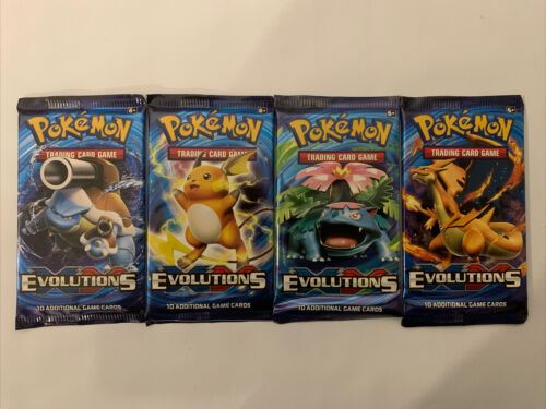 Factory Sealed Pokemon TCG XY Evolutions Booster Pack Lot 4x