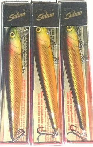 """Salmo W13F Whitefish Jerkbait//Crank Lot 3-Copper Gld-5.25/""""-13//16 0c-Hd to Find"""