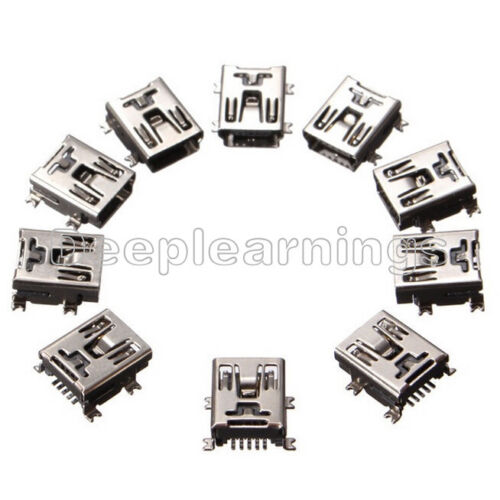 100PCS Mini USB SMD 5 Broches Femelle Mini B Socket Connector Plug