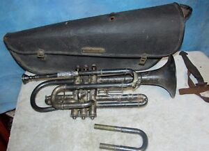 Vintage Brass Antiques Antique Vintage American Climax Cornet 79 W/case Horn Trumpet J0626 Bright And Translucent In Appearance