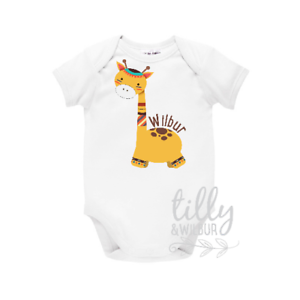 Tribal Boho Design Personalised Personalised Baby Bodysuit With Giraffe