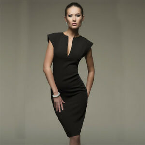 Sleeveless-Women-Bodycon-V-neck-Dress-Ladies-Evening-Party-Cocktail-Midi-Dress