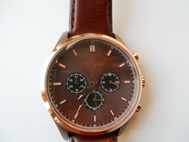 Fossil Herren Chronograph Braun Lederband, Quarz & Analog Kleid watch.fs-4632