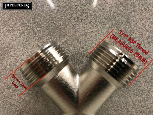 """Brass Lavatrice//Lavastoviglie rubinetto Y Doppio Splitter zincato con 3//4/"""" BSP"""