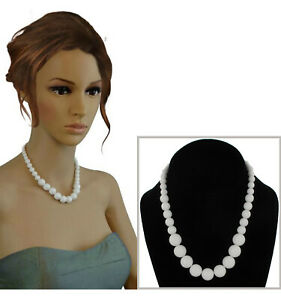 """White Necklace Beaded Graduated Lucite 16"""""""