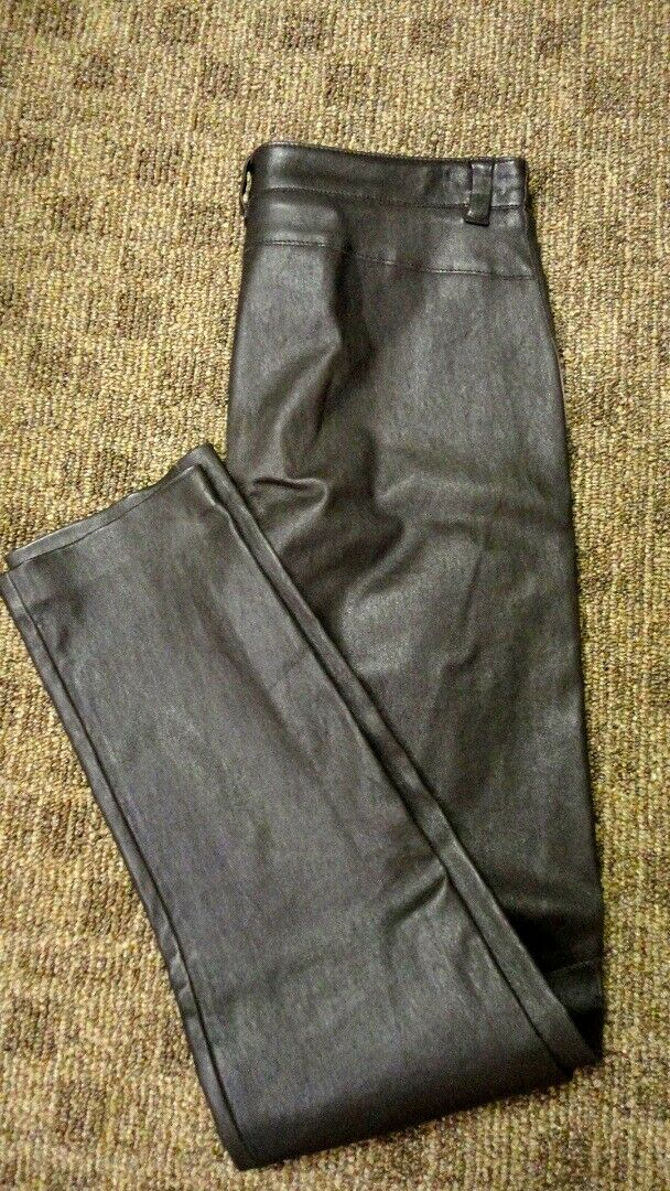 ESCADA Dark braun Leather Solid Flat Zip Front Casual Pants Sz S GG8329