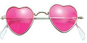 Forma-de-Corazon-Hippy-Gafas-de-Disfraz-Love-Paz-Rosa-Tono-Lentes-Anos-60-70-039-s