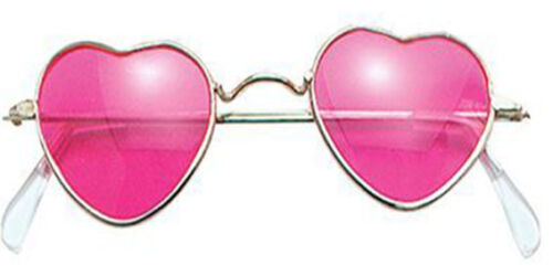 Heart Shaped Hippy Glasses Fancy Dress Love Peace Pink Tint Lenses 60/'s 70/'s