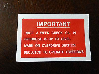 Land Rover Series 1 2a 3 Overdrive Fairey Fairy Info Dash Bulkhead Decal