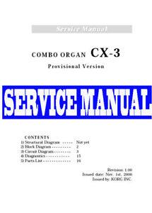 korg cx 3 cx3 pro organ repair service manual w schematics ebay rh ebay com
