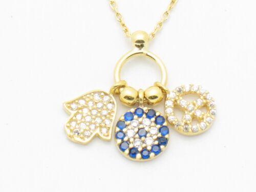GOLD SILVER DIAMOND SET EVIL EYE PEACE HAMSA PENDANT