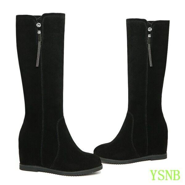 Women Women Women winter warm knee high boots suede fur lined metal decor wedge heel shoes 607ed2
