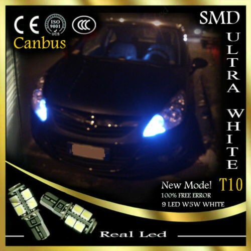 2x T10 LED 9SMD SIDELIGHTS CANBUS FREE ERROR WHITE 6000K OPEL VECTRA C 2002-2008