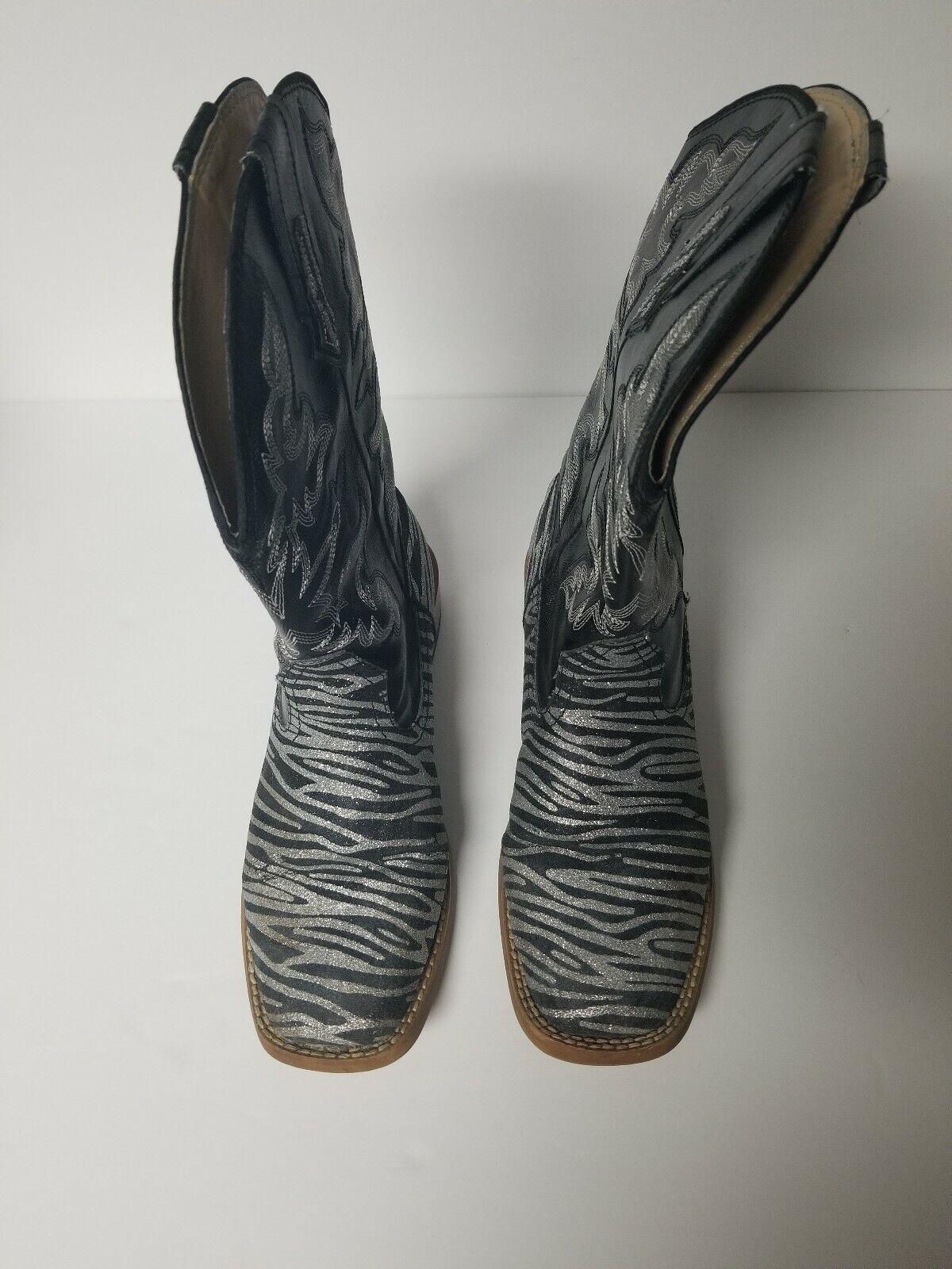 Roper Womens Size 6M Zebra Glitter Cowboy Square … - image 3