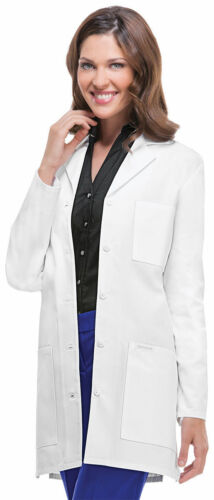 "Cherokee Women/'s Long Sleeve Pocket Notched Lapel 32/"" Stylish Lab Coat 1462A"