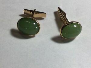 14K Gold Gumps Green Nephrite Jade Cufflinks Retro Art Deco Chinese Not Jadeite