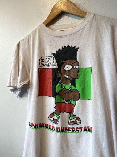 Vintage Bootleg Black Bart Simpsons Rap Tee Run DM