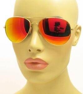 large aviator sunglasses  Aviator Sunglasses Large Metal Gold Frame Gold Color Mirror Flash ...