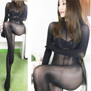 2d849b7aae5 Image is loading Oil-Shine-Sheer-Bodysuit-Super-Shiny-Glossy-Transparent-