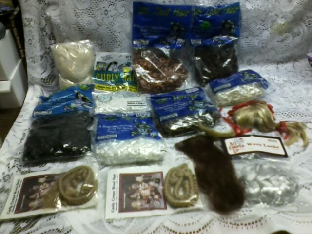 LOT 14~CURLY DOLL HAIR ~ HAIR PIECES FOR DOLLS.