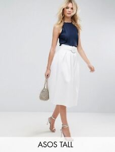 9ee263074 ASOS Women's White Party Scuba Prom Skirt with Circle Belt UK SIZE ...