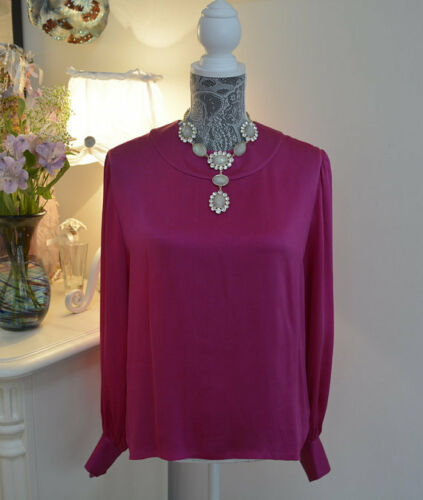 Givenchy Boutique Vintage Women Silk Hot Pink Blou